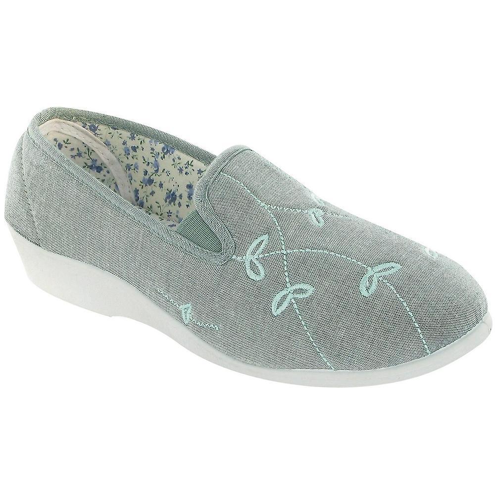Mirak Ladies Bessie Slip On Two Gusset Canvas Summer Casual Shoe Green