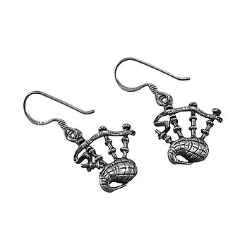 Sterling Silver Dangling Bagpipes Earrings