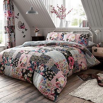 Ellis Multi Blumen Patchwork Duvet Cover Scheck gedruckt florale Bettwäsche Set