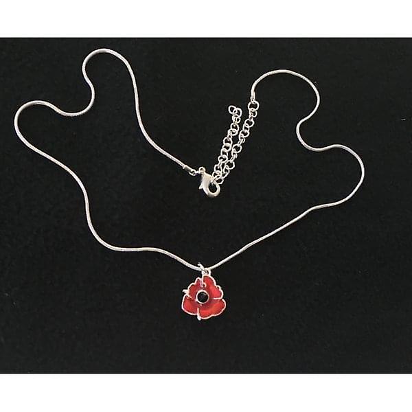 Union Jack Wear Poppy Pendant - Small Poppy Silver Edge & Chain