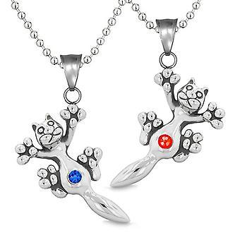 Amuletter søte Pus katten kjærlighet par eller bestevenner satt rød blå glitrende krystaller halskjeder