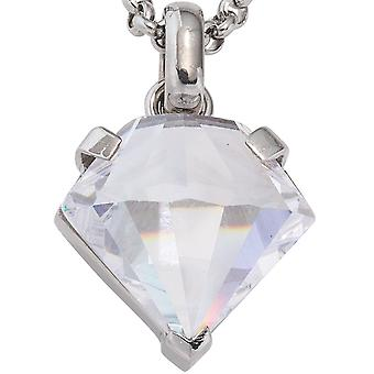 Diamond shaped pendant in stainless steel with cubic zirconia
