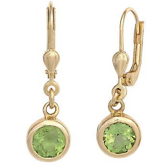 Peridot grüne Boutons 585 Gold Gelbgold 2 Peridote grün Ohrringe Ohrhänger