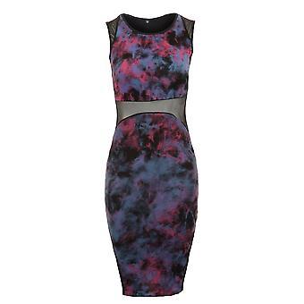 New Ladies Sleeveless Mesh Contrast Tie Dye Effect Women's Bodycon Dress