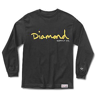 Diamond Supply Co OG Script Long Sleeve T-shirt Black Yellow