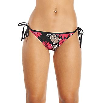 Camille Red And Brown Floral Tie Sided Black Bikini Bottoms