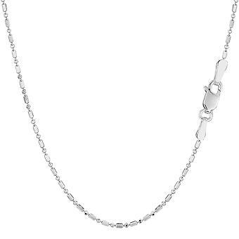 14k White Gold Diamond Cut pärla kedja halsband, 1,2 mm