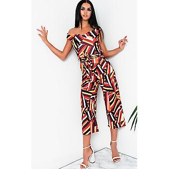 IKRUSH Womens Jordana Geometric Off-shoulder Wide Leg Jumpsuit