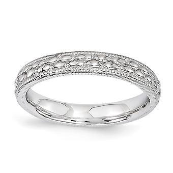 3,5 mm Sterlingsilber poliert stapelbar Ausdrücke rhodinierten gemusterten Ring - Ring-Größe: 5 bis 10