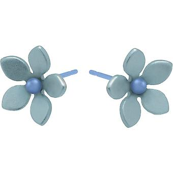 Ti2 Titanium 13mm Five Petal Stud Earrings - Sky Blue