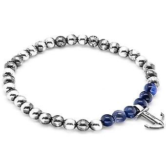 Anchor and Crew Keel Silver and Sodalite Stone Bracelet - Blue/Silver