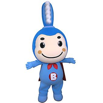 Blue toothbrush SPOTSOUND mascot with a cape