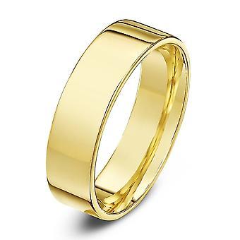 Star Wedding Rings 9ct Yellow Gold Light Flat Court Shape 5mm Wedding Ring