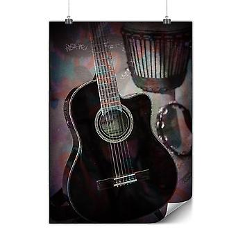Mate o brillante cartel con instrumento musical | Wellcoda | * q1072