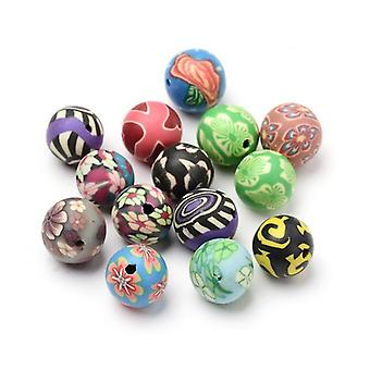 Packet 20 x Mixed Polymer Clay 12mm Plain Round Beads HA24075