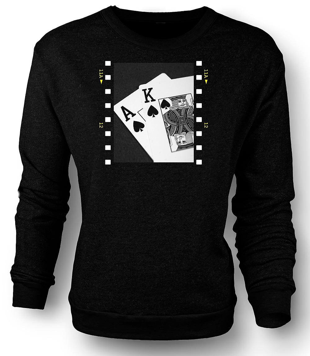 Mens Sweatshirt Poker Hand Black Jack Ace King