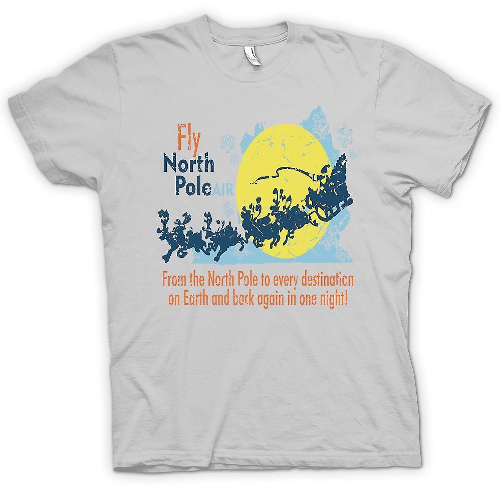 Heren T-shirt - Noordpool Air - grappige Santa vliegen