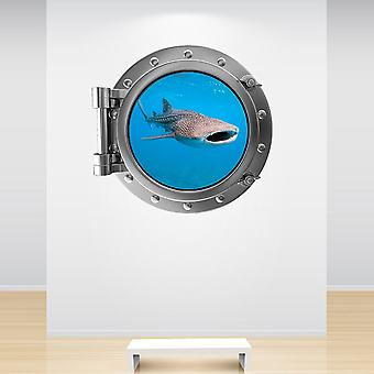 Full Colour Whale Shark Porthole Wall Sticker