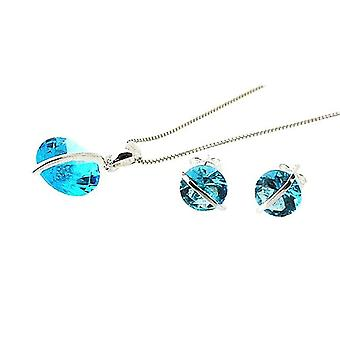 TOC Sterling Silver Aqua-Tone CZ Earrings & Pendant Necklace 18