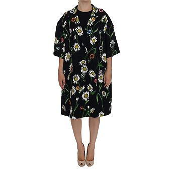 Dolce & Gabbana Black Brocade Crystal Daisy Trench Coat -- DR10092912
