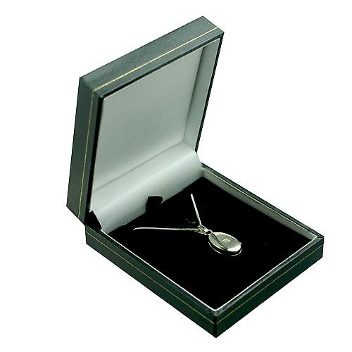 9ct White Gold 18x11mm plain oval Locket with a curb Chain 16 inches Only Suitable for Children