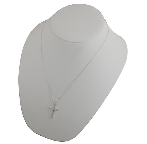 Silver 30x18mm plain solid block Cross with a curb Chain 22 inches