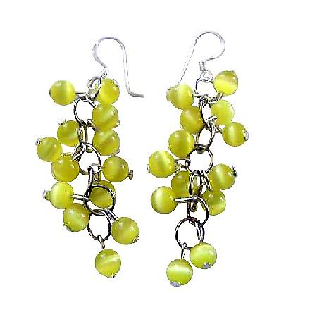 Yellow Lime Cat Eye Beaded Silver Earrings Handmade Custom Jewelry