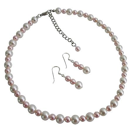 White & Rosaline Pearls Necklace & Earrings Handcrafted Custom Jewelry