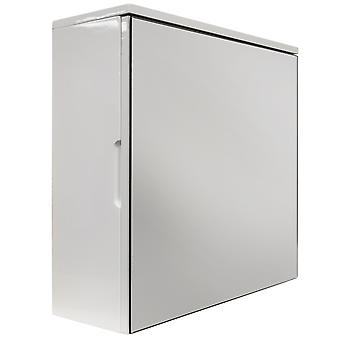 Cube - High Gloss Square Mirror Bathroom Wall Storage Cabinet - White