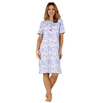 Slenderella ND3101 kvinners bomull Jersey natt kjole Loungewear Nightdress