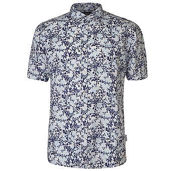 Pierre Cardin Mens tutto stampa camicia di lino Casual Top manica corta