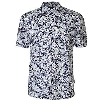 Pierre Cardin Mens All Over Print Linen Shirt Casual Tops Short Sleeve