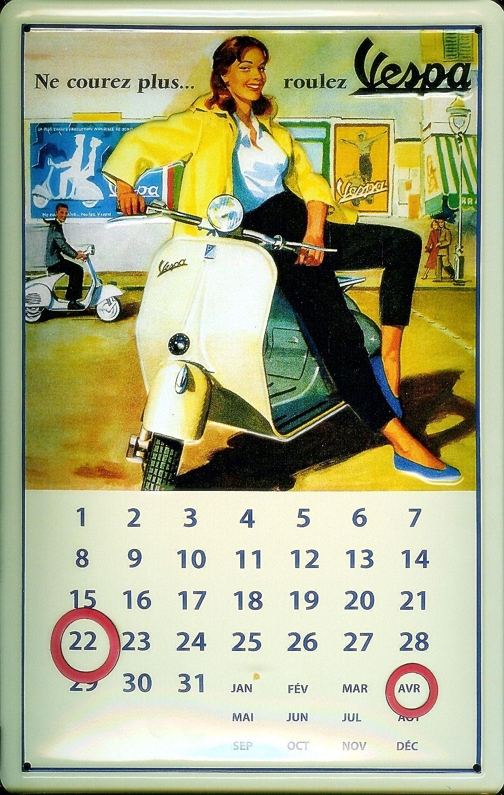 Vespa Girl In Yellow embossed steel sign / everlasting calendar  (hi 3020)