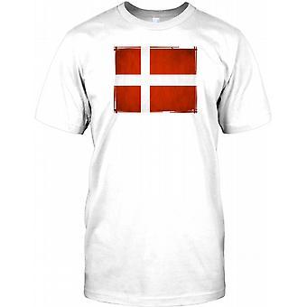 Flaga duńska Grunge - dania męskie T Shirt