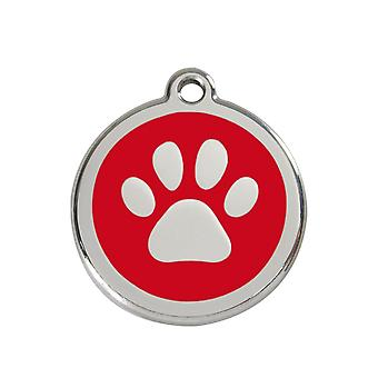 Red Dingo Pet Collar Identification Tag - Paw Print
