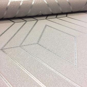Silver Pulse Diamond Wallpaper Geometric Textured Glitter Metallic Fine Decor