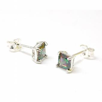 Toc Sterling Silver Mystic Quarts Square Stud Earrings