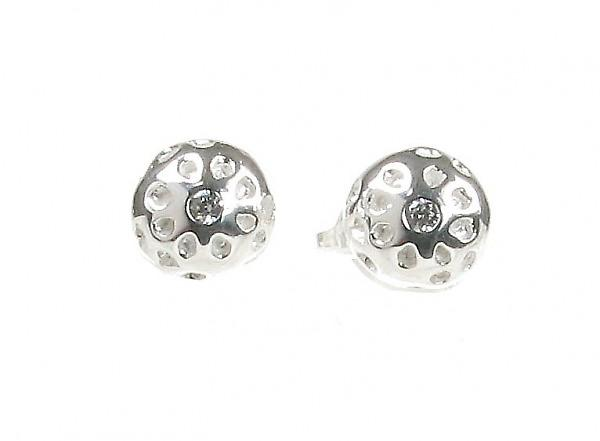 Cavendish French Sterling Silver Round Golf Ball Stud Earrings