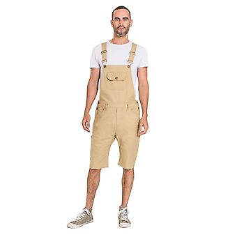Mens slim fit cotton dungaree shorts - various colours