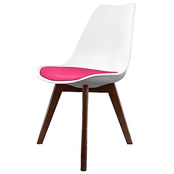 Fusion Living Eiffel Inspired White And Bright Pink Dining Chair With Squared Dark Wood Legs