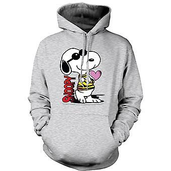 Dame hættetrøje - Snoopy tegnefilm med hjertet