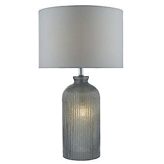 Pamplona bordslampa grå C/w grå faux siden skugga