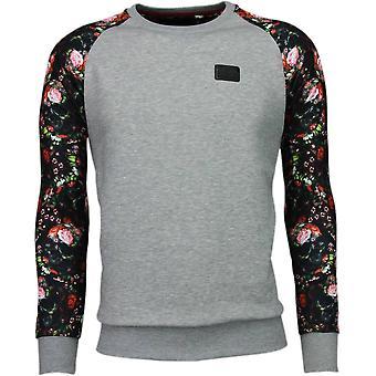 Rosor skalle ARM motiv-Sweatshirt-grå
