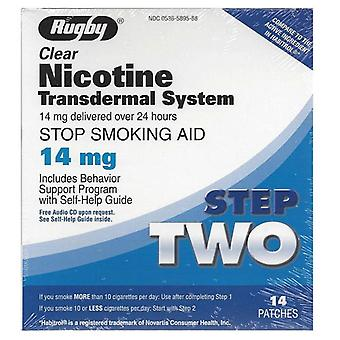 Rugby nicotine transdermal system, step 2, 14 mg, patches, 14 ea
