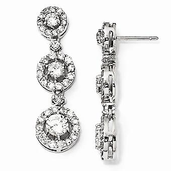 925 Sterling Silver Rhodium-plated Cubic Zirconia Circle Dangle Post Earrings