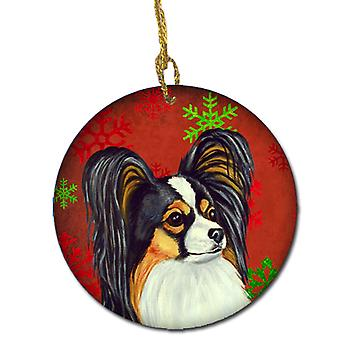 Papillon Red Snowflake Holiday Christmas Ceramic Ornament LH9345