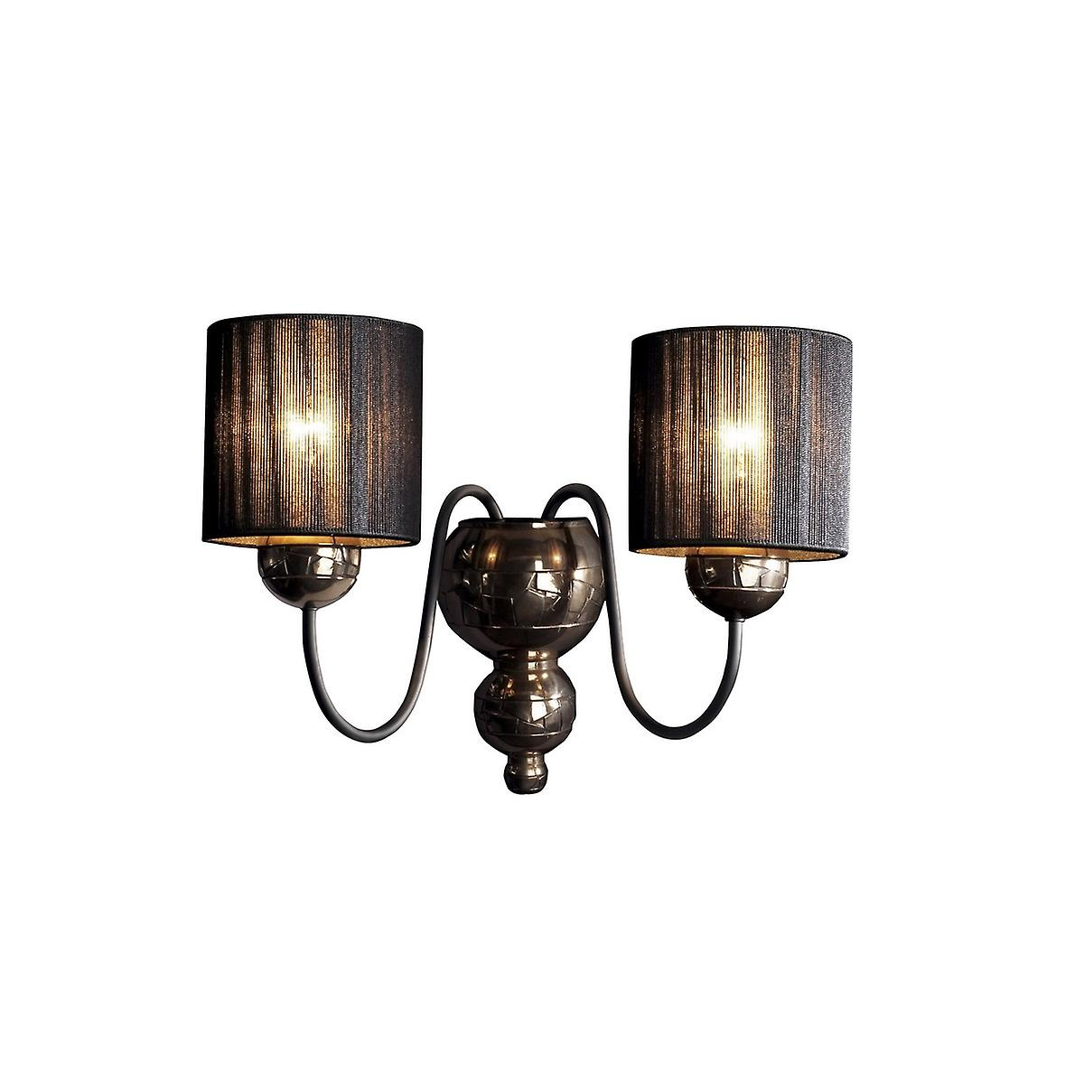 David Hunt GAR0963 Garbo Double Wall Bracket In A Bronze Finish With Black String Shades