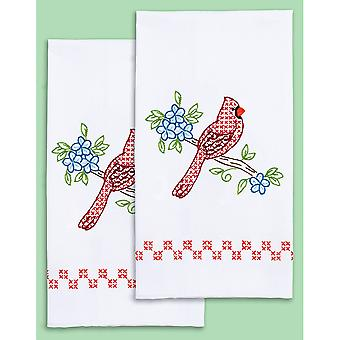 Stamped White Decorative Hand Towel Pair 17