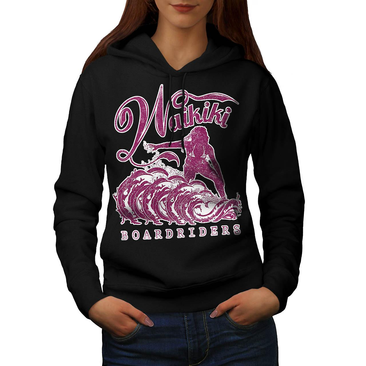 Surfing Hawaii USA Honolulu Surf Women Black Hoodie | Wellcoda