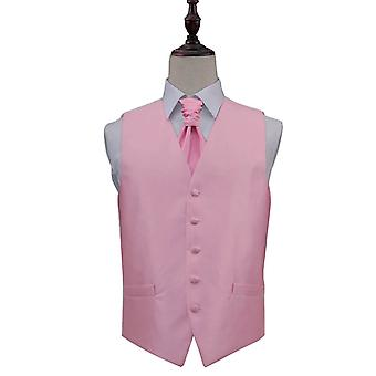 Light Pink Solid Check Wedding Waistcoat & Cravat Set